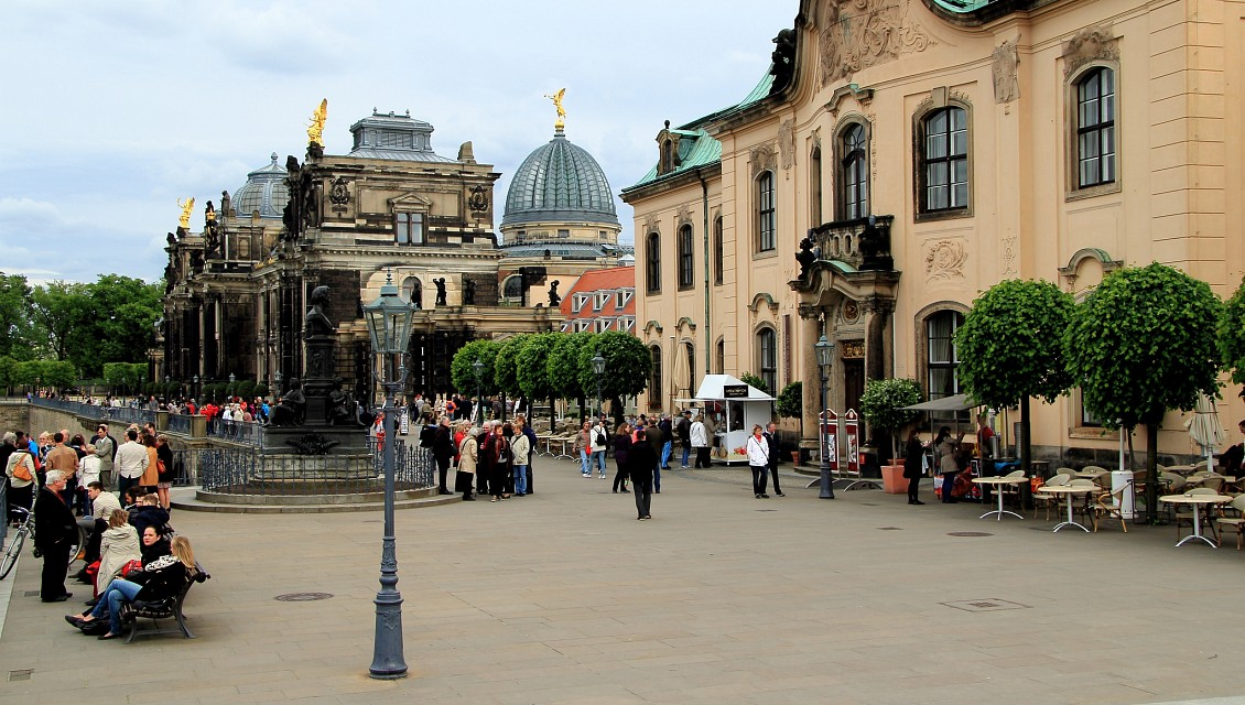 Bruhl's Terrace in Dresden Germany - dome in center is of the Academy of Fine Arts - on right is the Sekundogenitur - Academy of Fine Arts Dresden