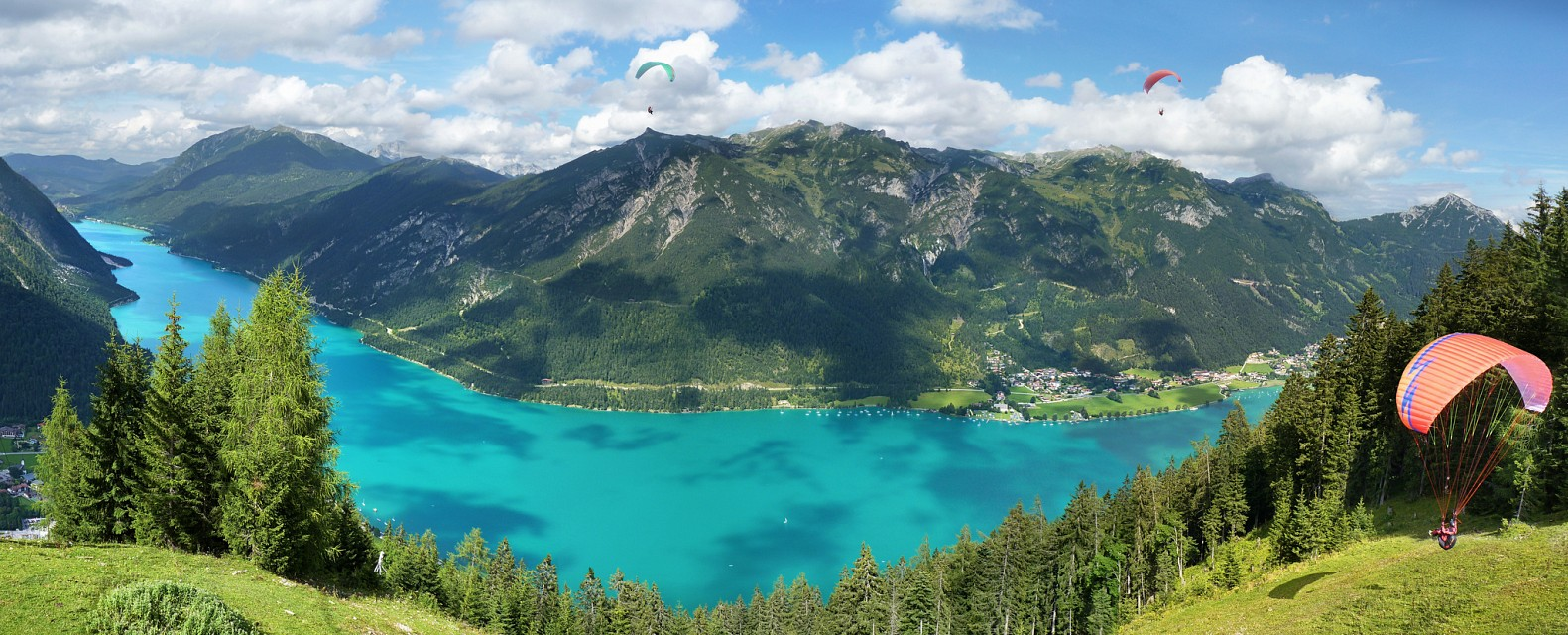 Paraglider lift off at the Achensee - Achen Lake