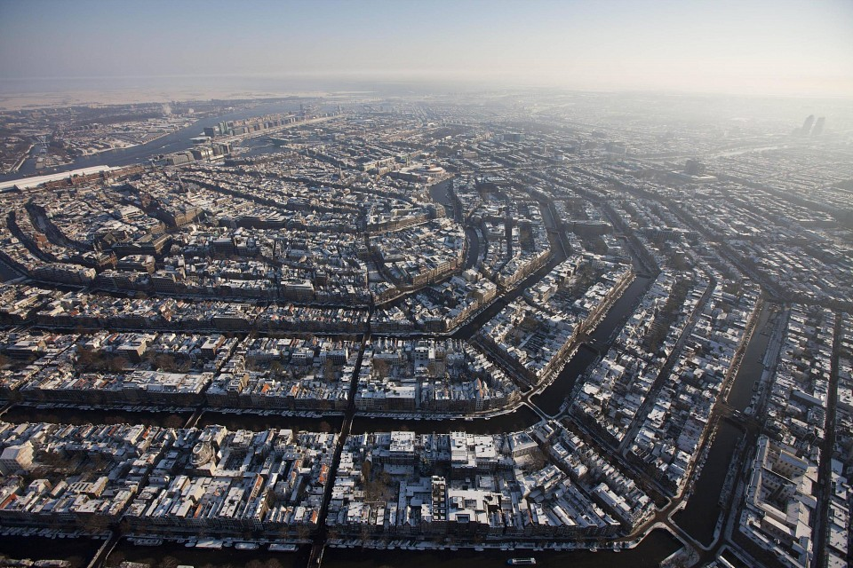 Aerial in winter - Amsterdam