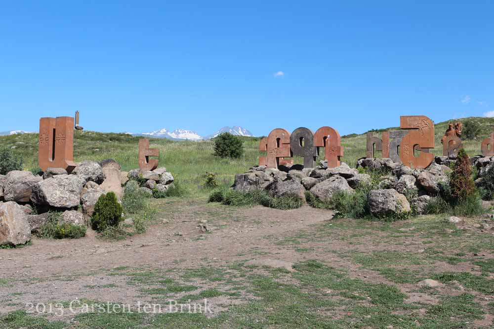 At the monument of Armenian letters - Armenian Alphabet Monument