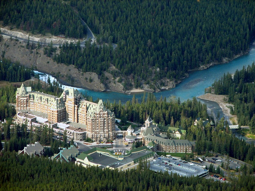 Banff Spring Hotel as seen from up in the Rockies - Banff Springs Hotel