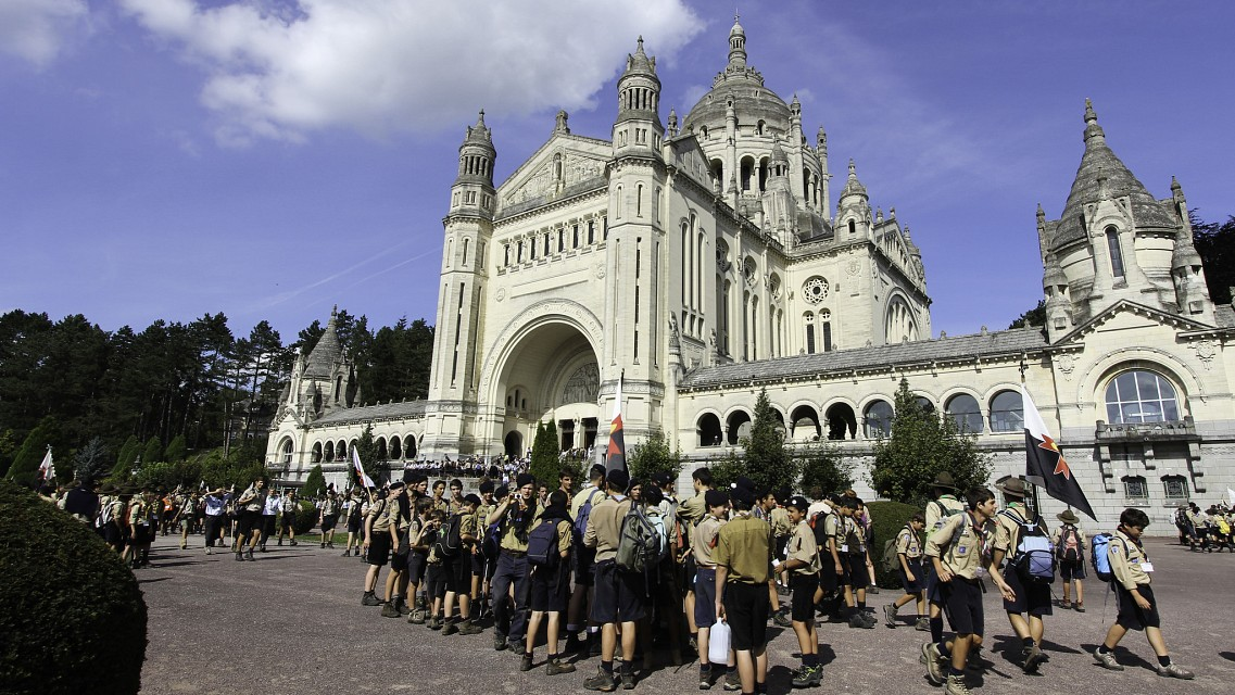 Scouts at the Lisieux Basilica - Basilica of St. Thérèse