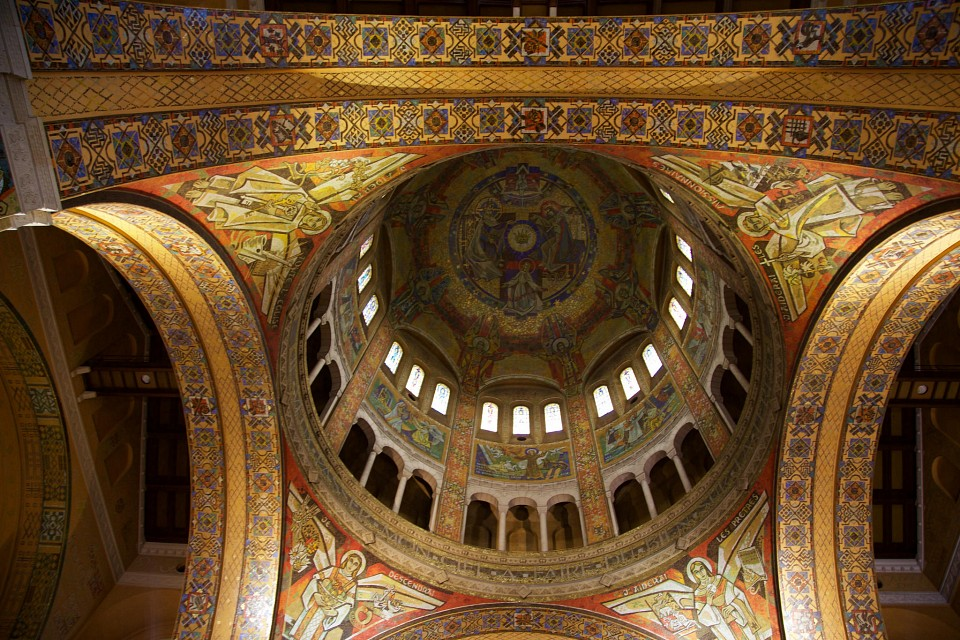 Dome of the basilica in Lisieux, France, built in the early to mid-20th century, home of St Therese of Lisieux - Basilica of St. Thérèse