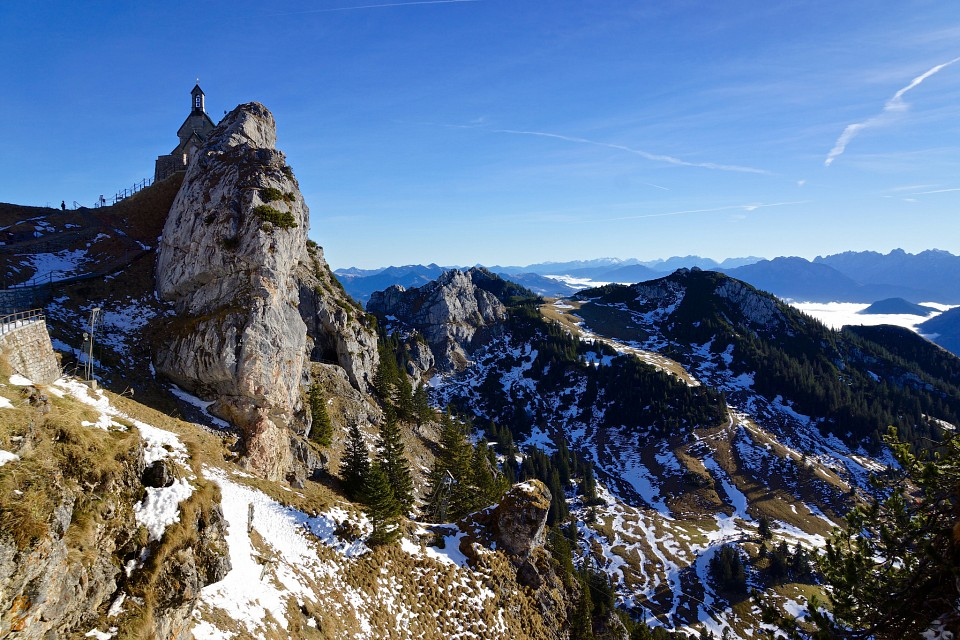 On Wendelstein mountain with Chapel looking to the East in Bavaria, Germany - Bavaria