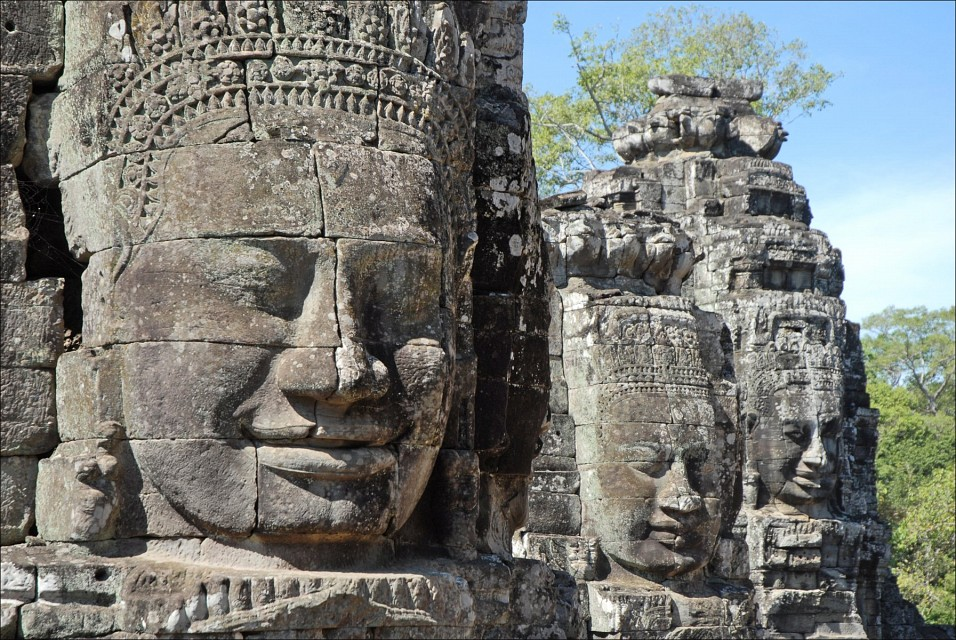 Bayon, one of the more famous Khmer temples in Cambodia