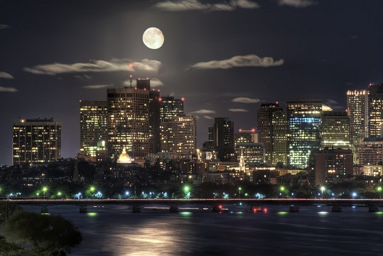 Moon over Boston -