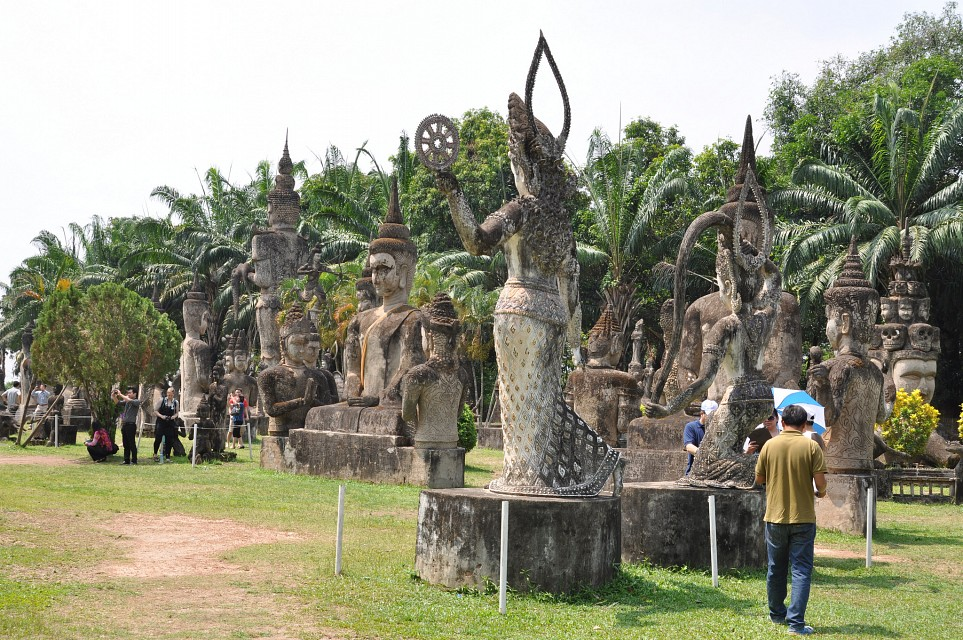 Large Hindu and Buddhist concrete statues in Buddha Park - Buddha Park