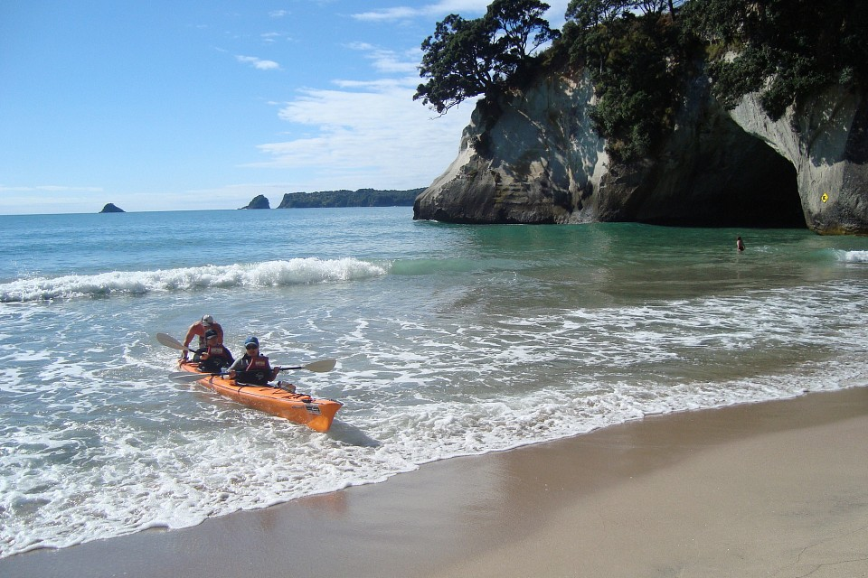 Beaching a sea kayak at
