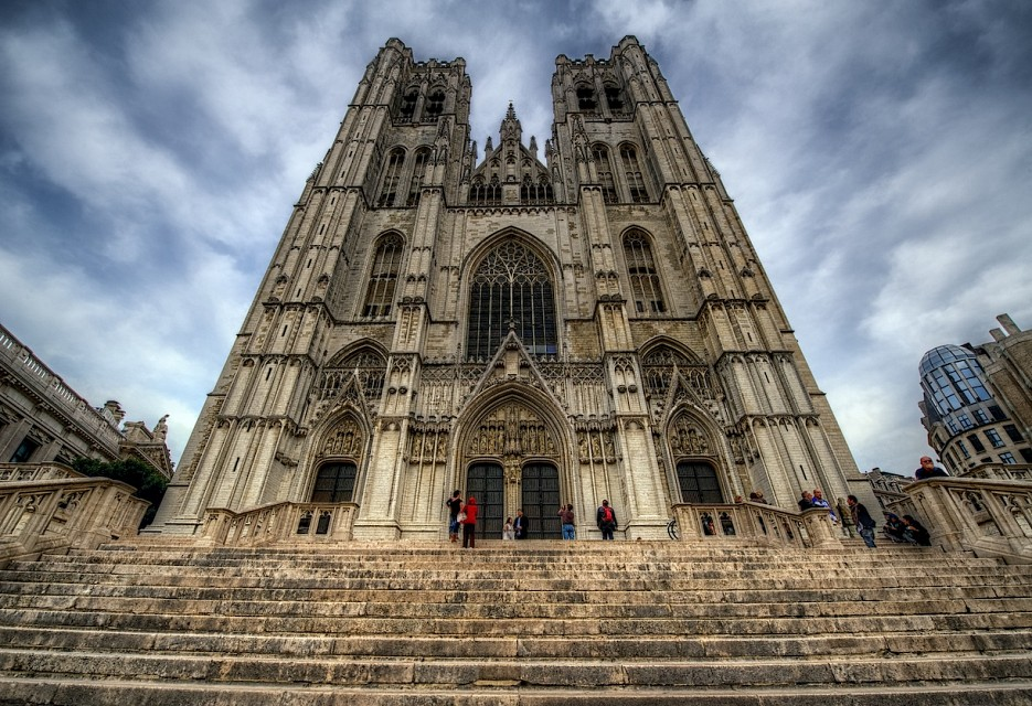 The facade of Brussels Cathedral - Cathedral of St. Michael and St. Gudula