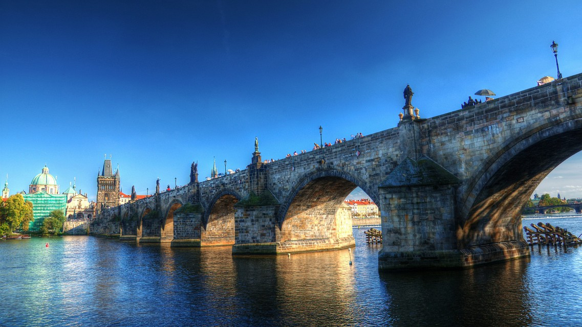 Sunset under the Charles bridge - Charles Bridge