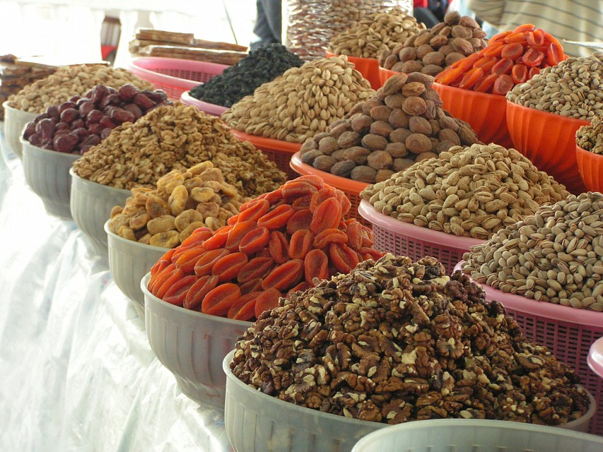 Nuts in Samarkand Markets - Chorsu Bazaar