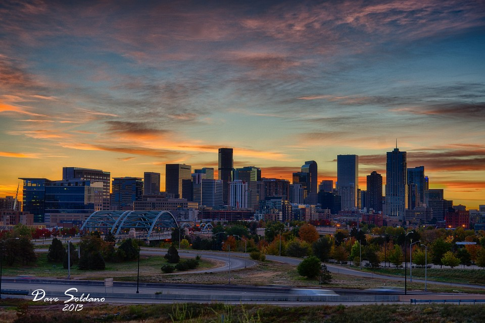 Denver Autumn Skyline at Sunrise - Denver