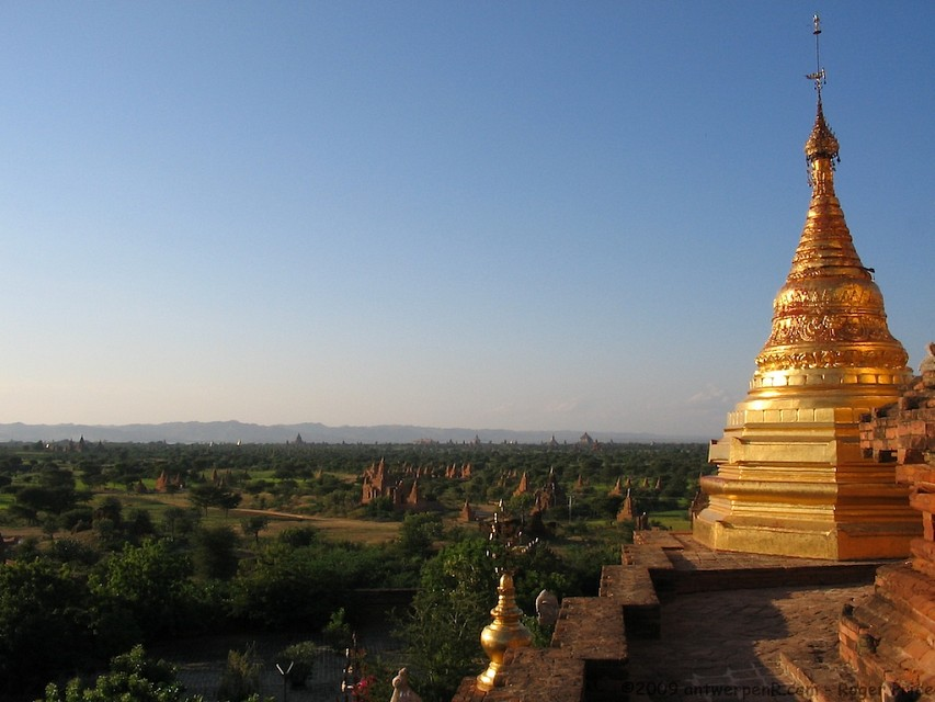 First glimpse of Bagan plain, nearing sunset too! - Dhammayazika Pagoda