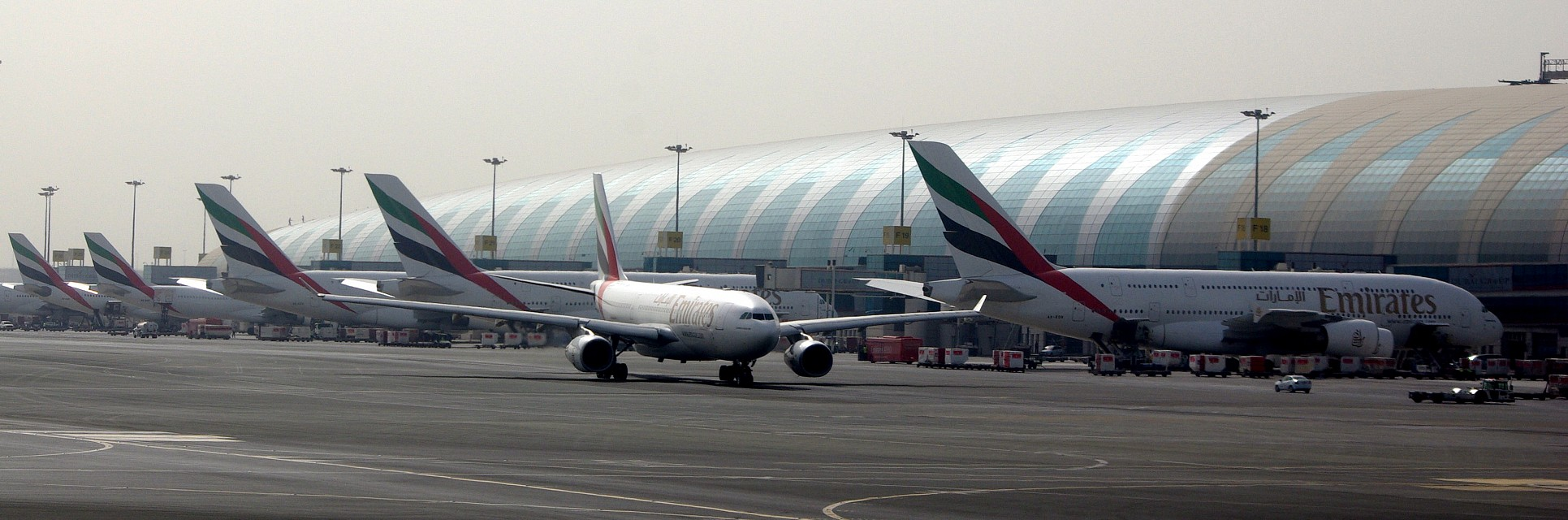 A380s lined up at terminal 3 - Dubai International Airport