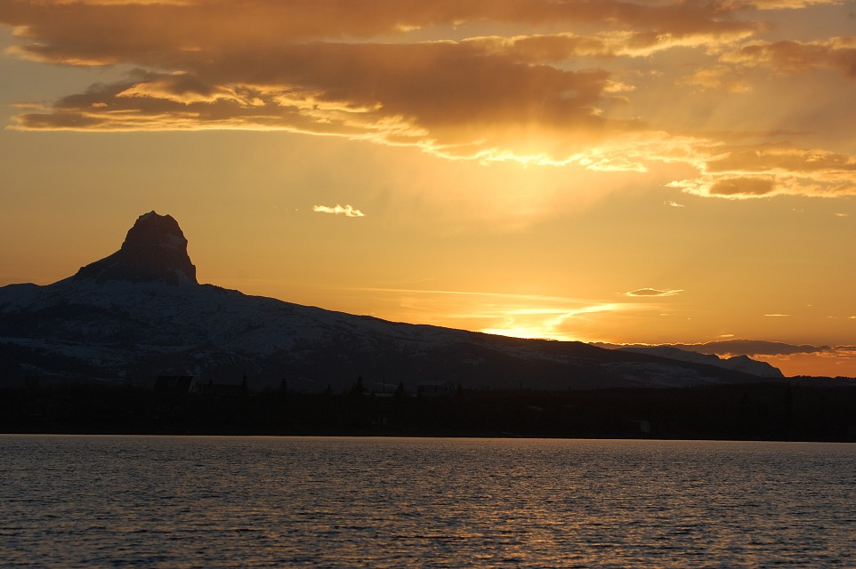 Sunset over Chief Mountain - Duck Lake