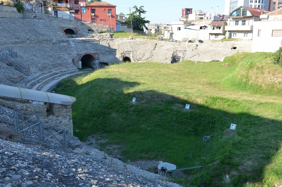 The Durrës Amphitheatre built in the beginning of the 2nd century AD during the reign of Trajan, it is one of the largest amphitheatres in the Balkan peninsula with a capacity of 20,000 people, Albania - Durrës Amphitheatre