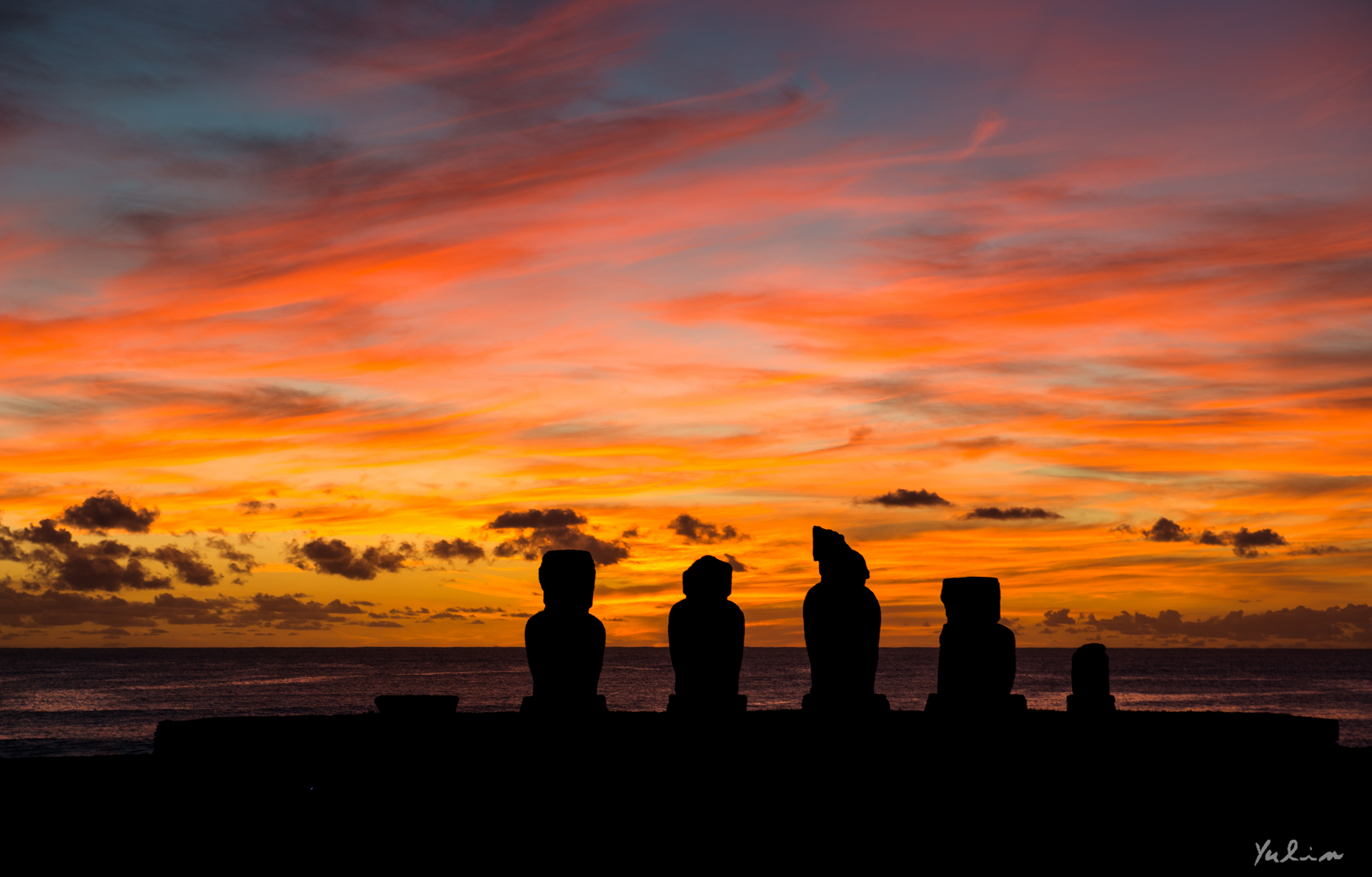 Sunset in Easter Island.