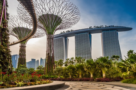 Skyway with Marina Bay Sands in the