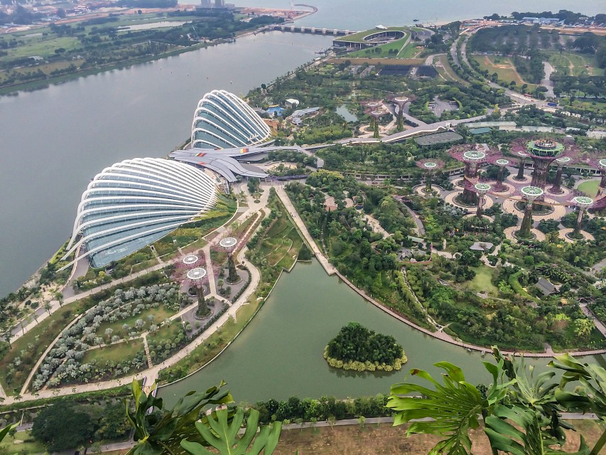Gardens by the Bay as seen from Marina Bay Sands - Gardens by the Bay