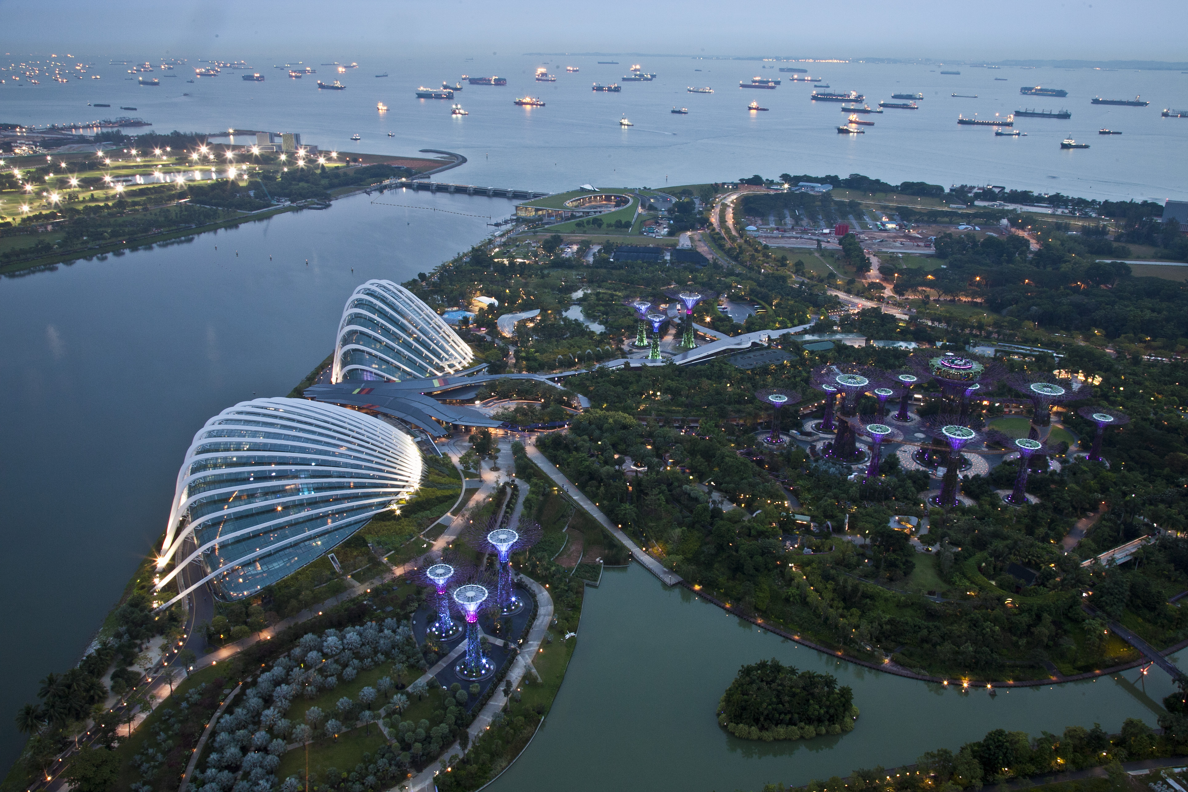 gardens by the bay as seen from marina bay sands the conservatories can be seen on the left