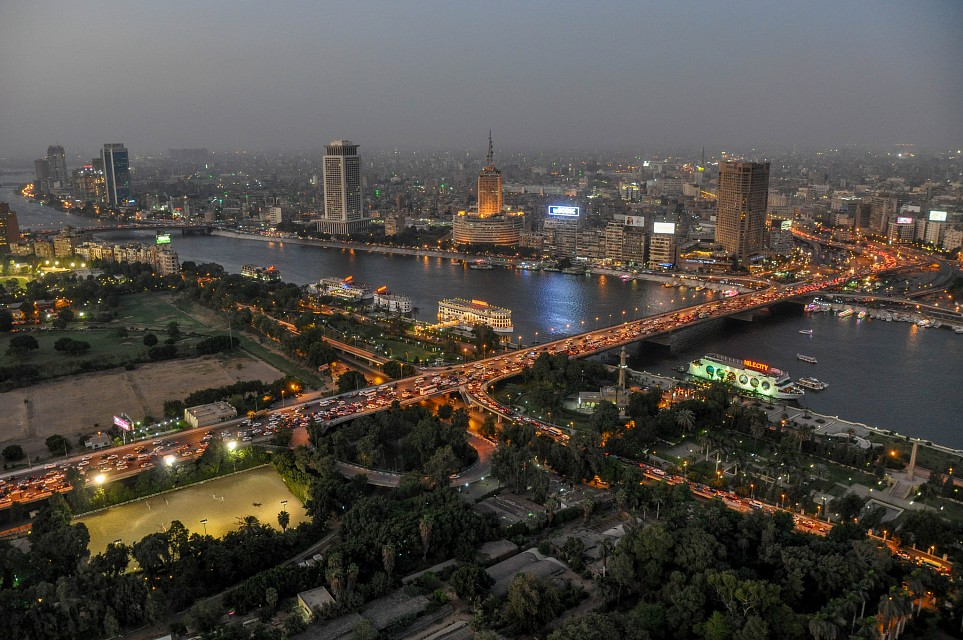 Downtown cairo - The 15 May and 6 October bridges connect the island of Zamalek separated by the Nile river - Gezira Island