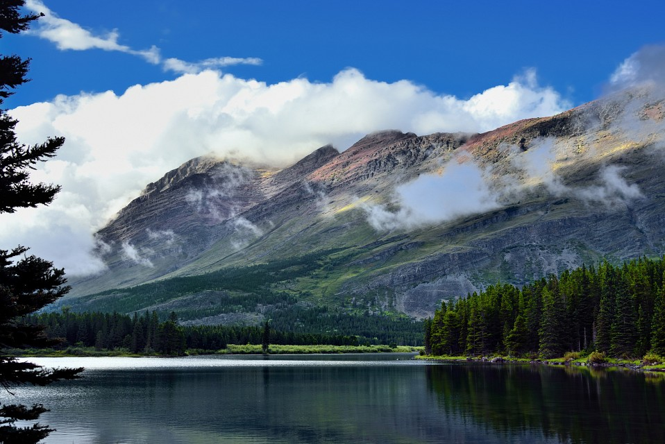 Mount Henkel Surrounded by Clouds - Glacier National Park