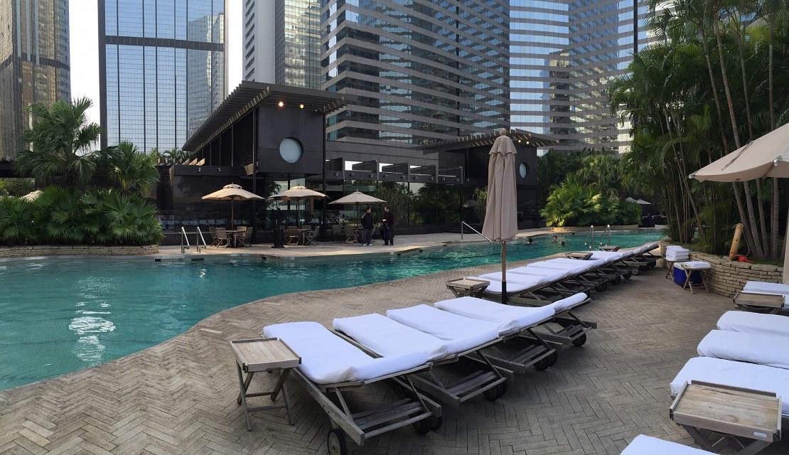 sitting by the heated pool on the 11th floor in a beautiful afternoon - Grand Hyatt Hong Kong