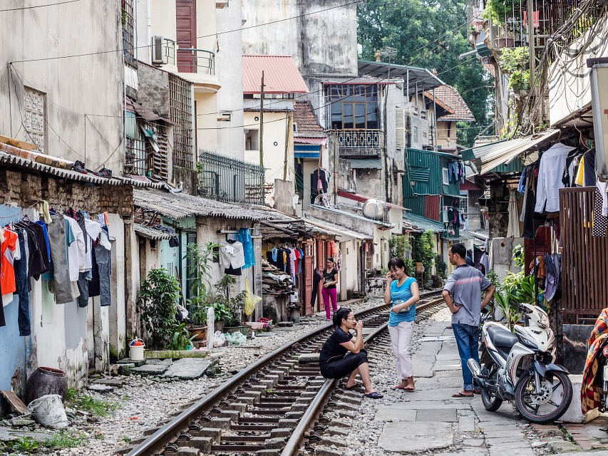 Railway line runs in the center of Hanoi, cutting through  streets in the old town district - Hanoi
