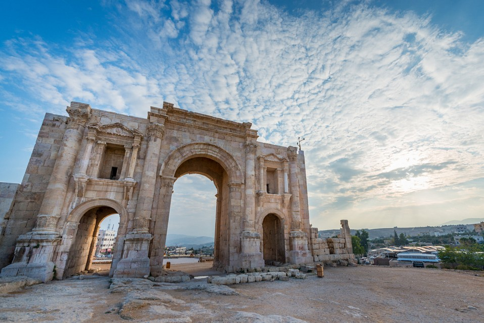 Clouds over Arch of Hadrian // Trip to Jordan - Jerash