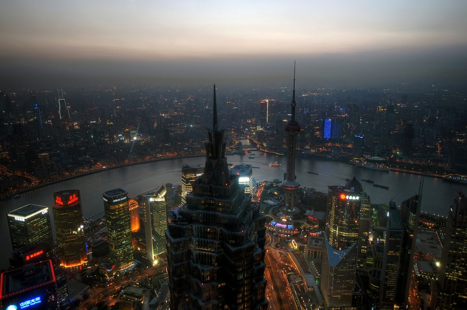 shanghai sunset from world financial centre - Jin Mao Tower