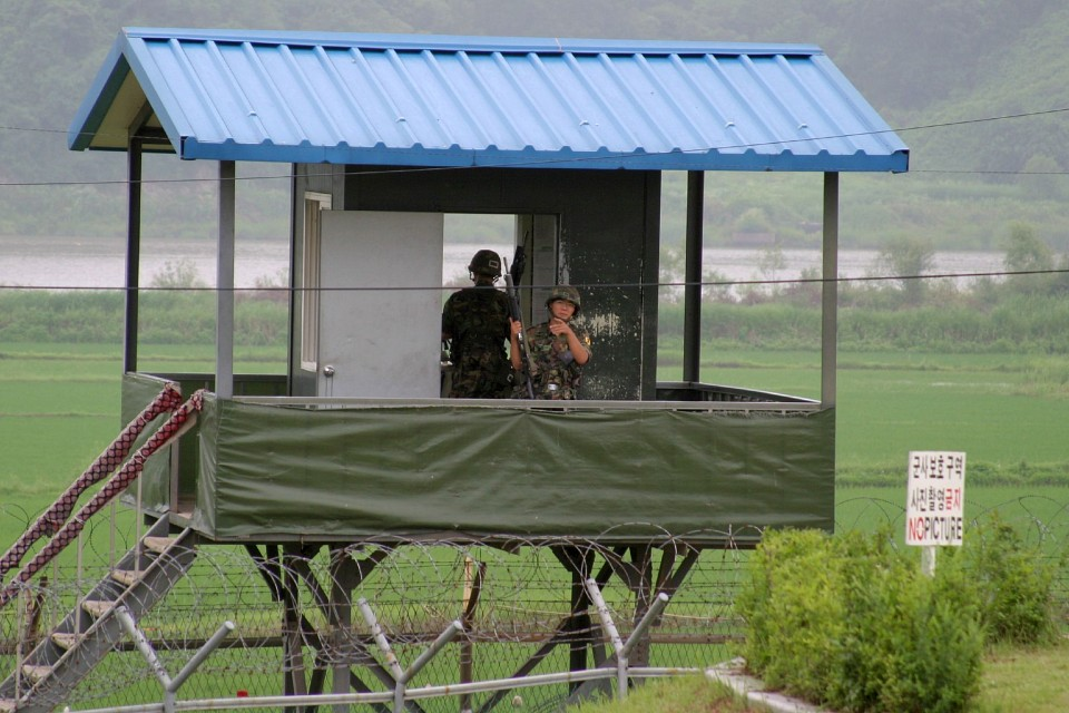 A guard post in the DMZ - Korean Demilitarized Zone