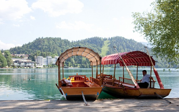 Pletna boats on Bled island