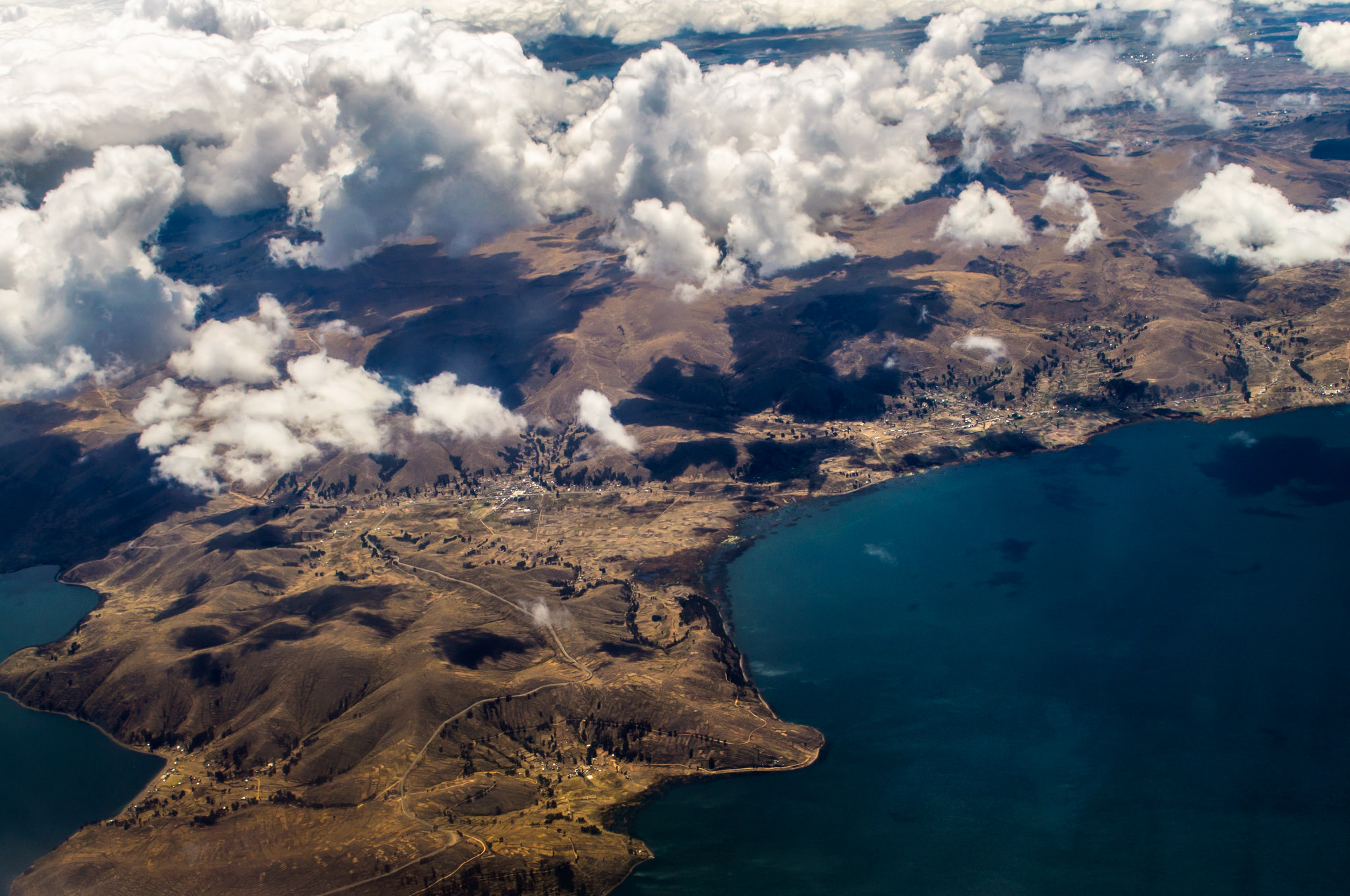 Flying over Lake Titicaca