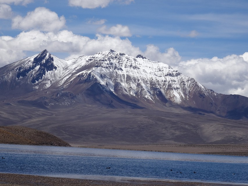 Snow-capped mountains beside Chungará Lake, Lauca National Park, Arica y Parinacota region, Chile - Lauca National Park