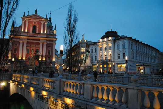 Triple bridge with Prešeren Square and Stolnica - Ljubljana