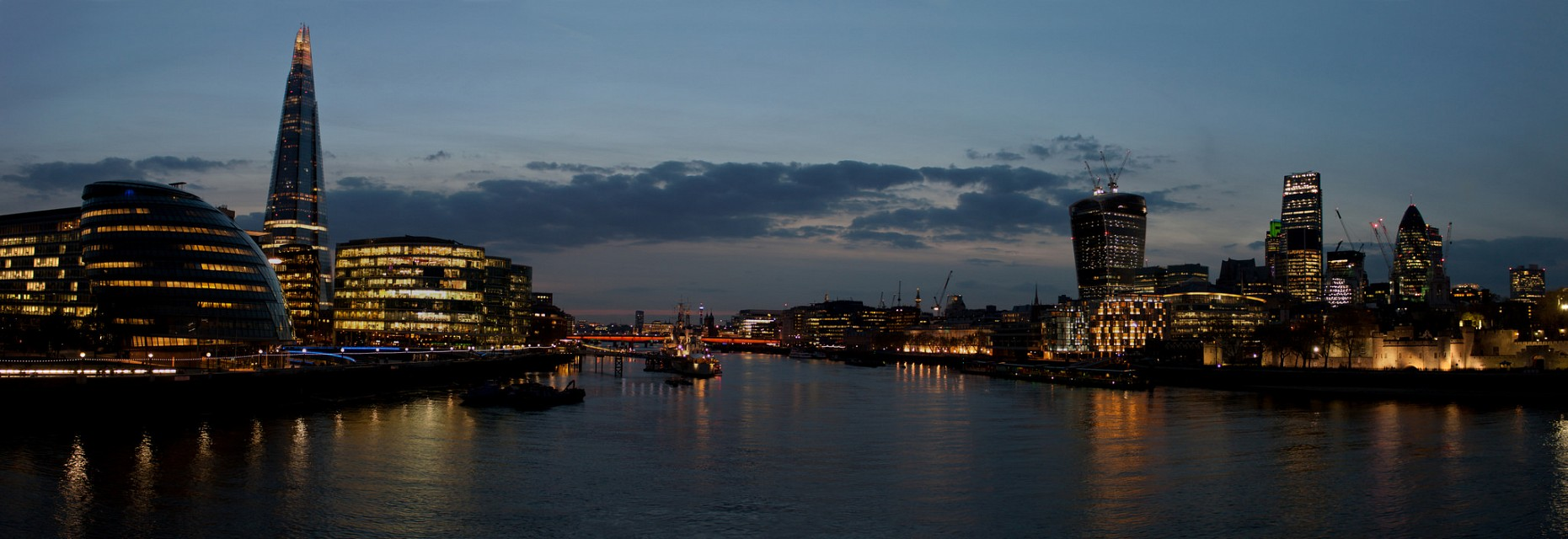 UK, London - Panoramic from Tower Bridge during blue hour - London