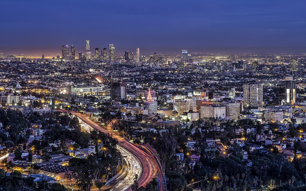 Los Angeles from Hollywood Bowl Overlook at Night - Los Angeles