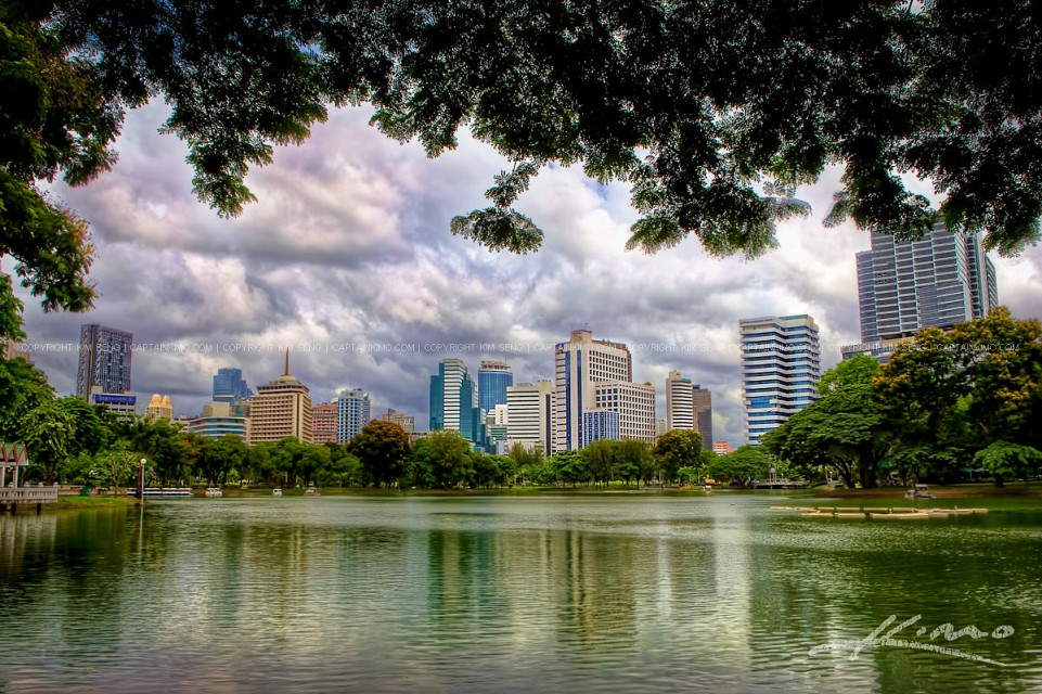 Lumphini-Park-View-of-Bangkok-City-Buildings-in-Thailand - Lumphini Park