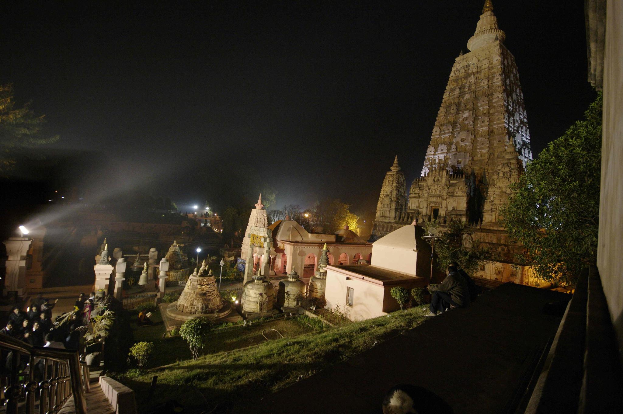Mahabodhi temple by night