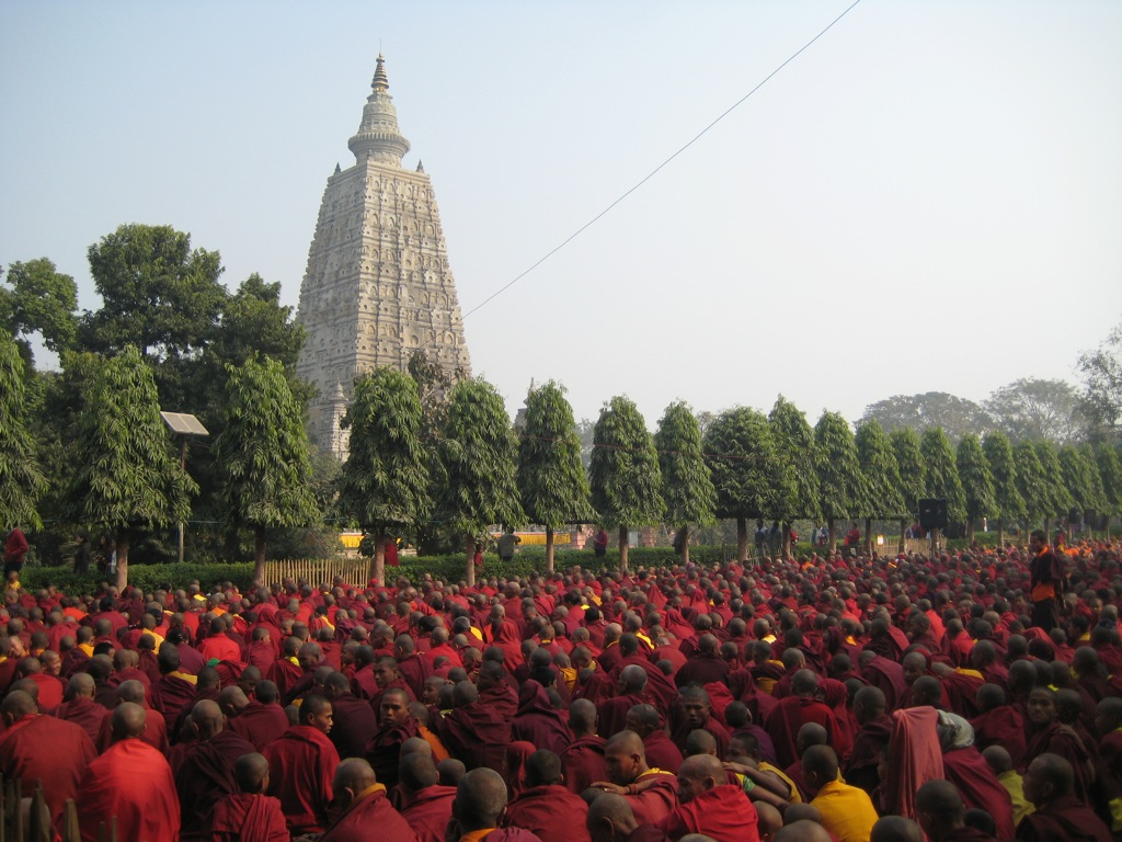 Mahabodhi Temple with Monks
