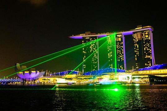 Laser show at night - Marina Bay Sands