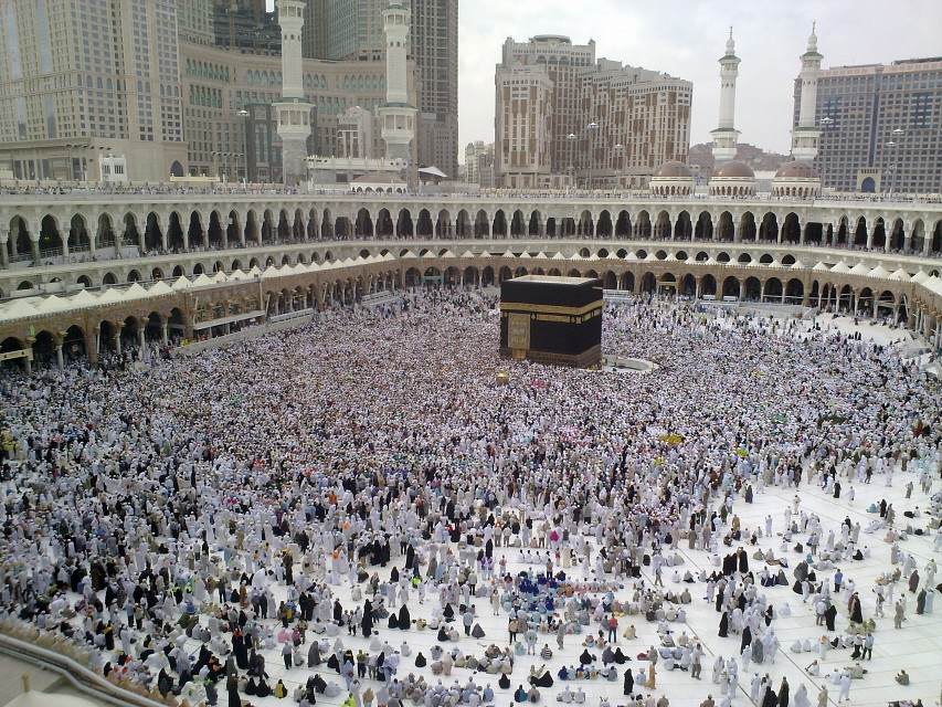 A Last day of Hajj - all pilgrims leaving Mina, many already in Mecca for farewell circumambulation of Kaaba - Mecca