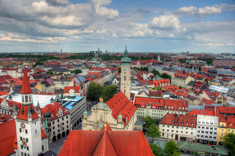 Munich Cityscape from Peterskirche looking east -