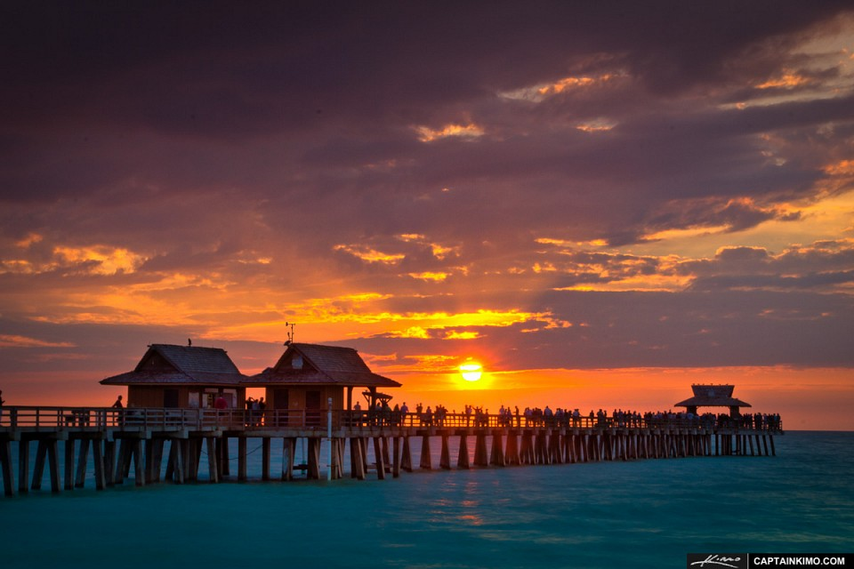 Sunset-at-Naples-Pier-Over-the-Gulf-of-Mexico - Naples, Florida