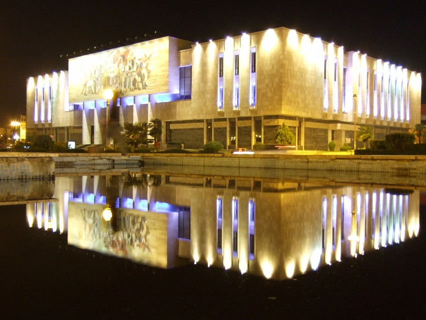 National Historical Museum and The Albanians at night - National Historical Museum