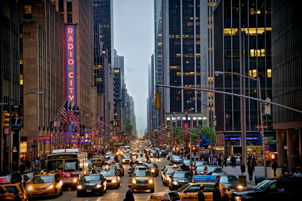 NYC Street with Radio City Music Hall - New