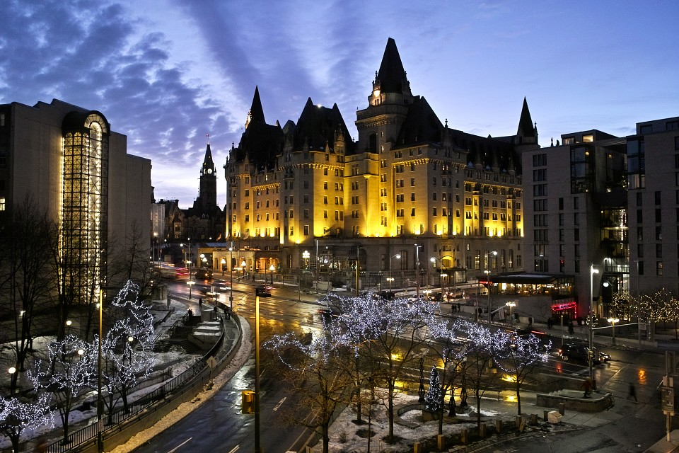 Chateau Laurier and the Peace Tower at Night - Ottawa