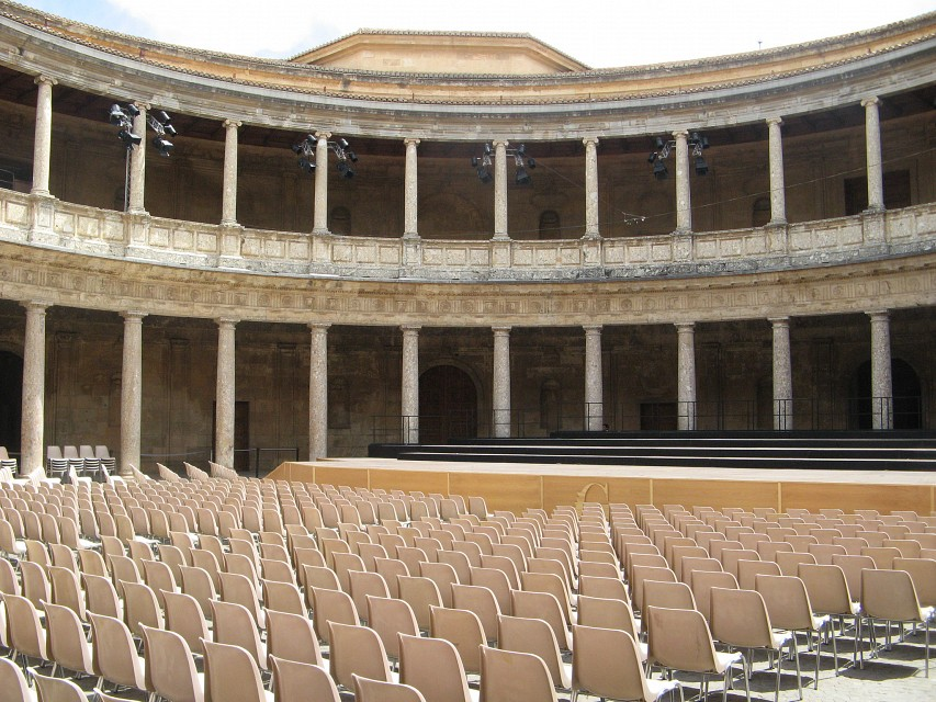 Lower level of Charles V Palace in Alhambra, Granada - Spain - Palace of Charles V