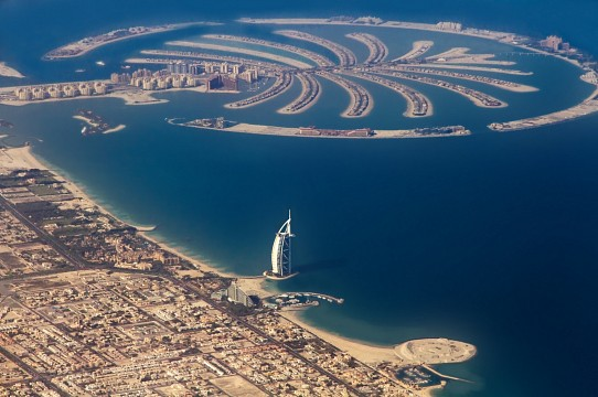 Burj al Arab (front) and Palm Jumeirah Island -
