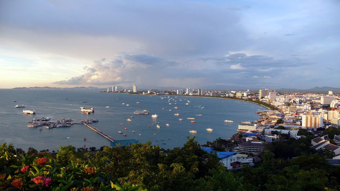 Pattaya bay from Pratumnak Hill -
